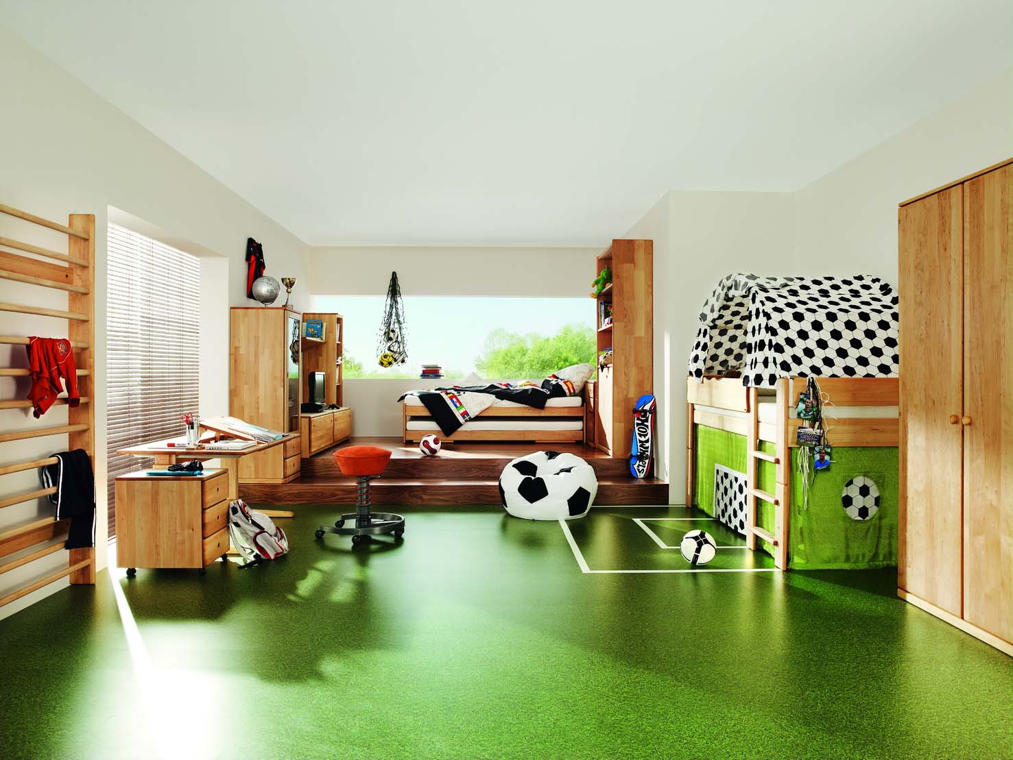 Contemporary childrens room with green flooring