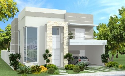 Casas modernas fachadas plantas e projetos for Fachadas modernas para casas pequenas de una planta