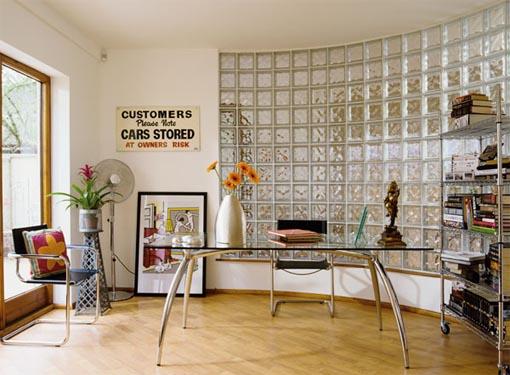 Home Office Projetado com Tijolos de Vidro