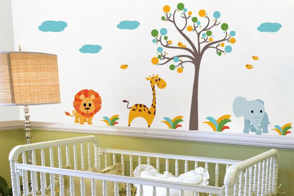 adesivo parede decoração quarto bebe arvore bolinhas