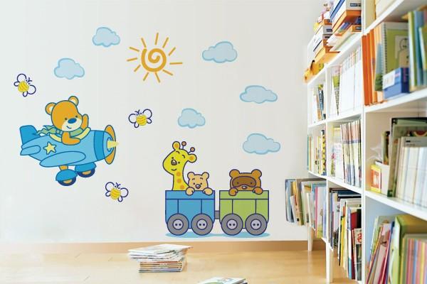 adesivo parede decoração quarto bebe passeio bichos