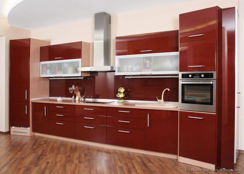 armarios de cozinha em vermelho