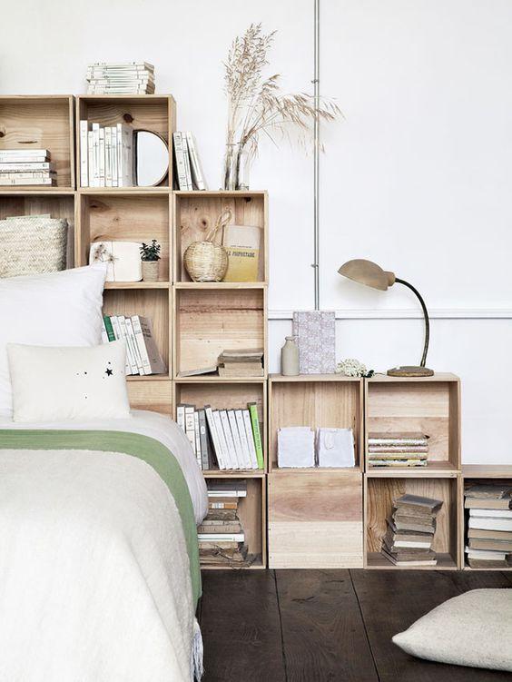 cabeceira cama caixotes madeira
