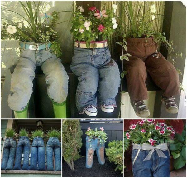 canteiros jeans velhos 1