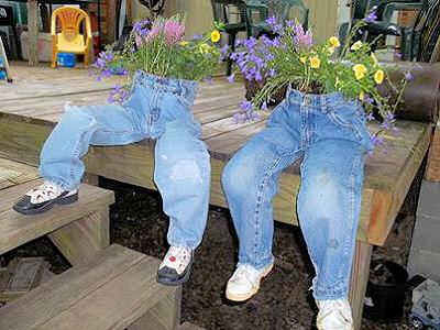 canteiros jeans velhos 3