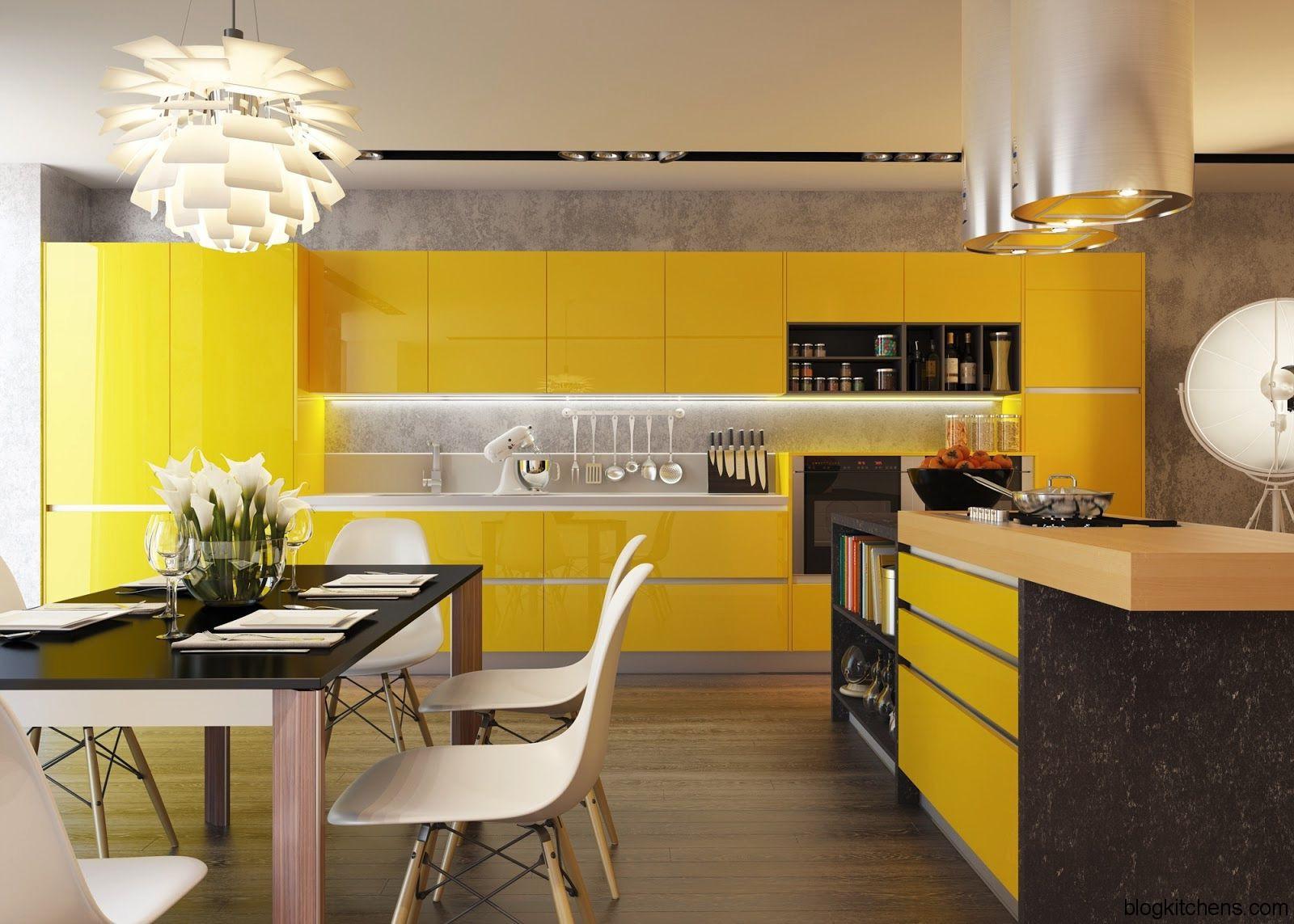 cozinha amarela americana