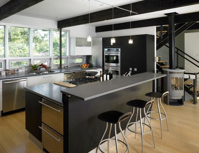 cozinha americana preta e branca