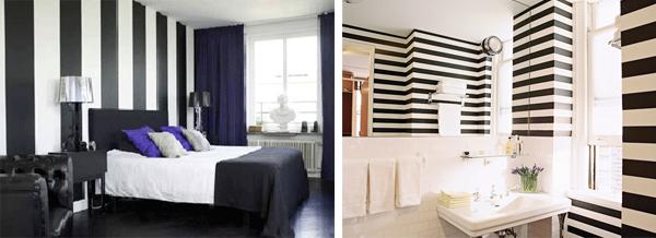 Dicas de decoração com parede preta Homex Imóveis ~ Quarto Preto E Branco Listrado