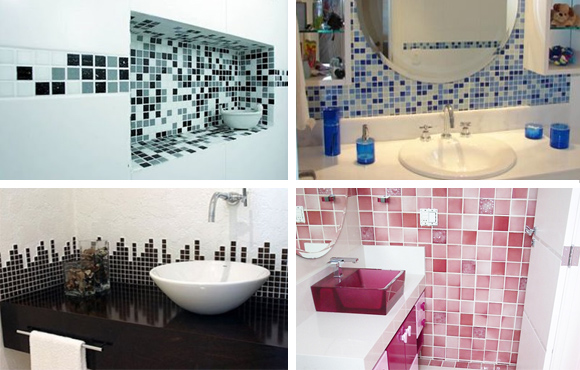 imagens para retirar ideias para decorar banheiros com pastilhas