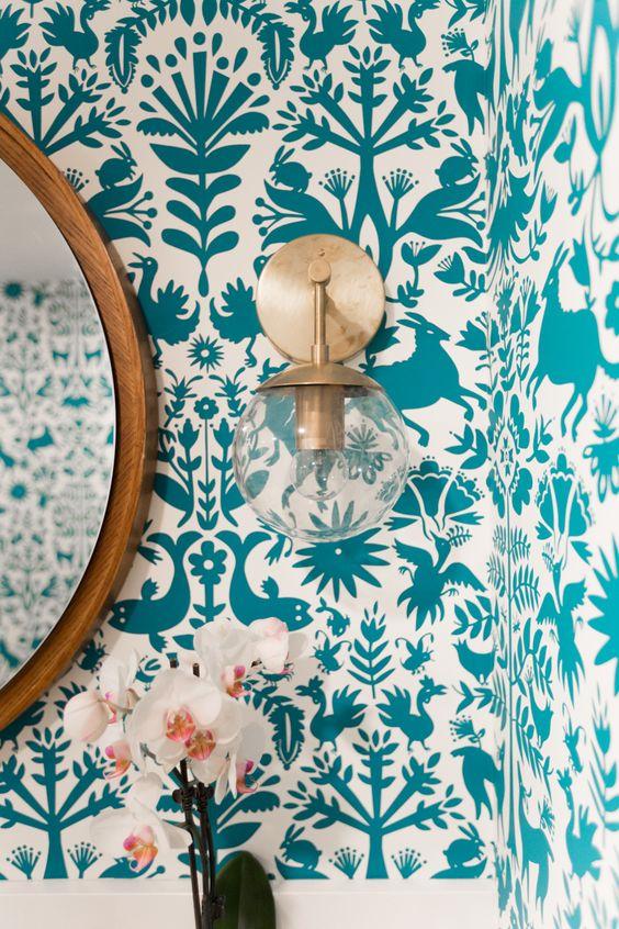 decoracao com papel parede hall