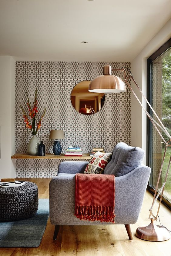 decoracao com papel parede sala