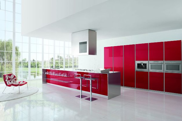 modern red kitchen cabinets from Doimo Cucine
