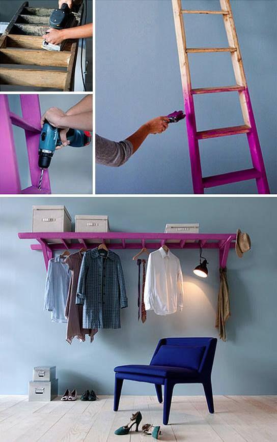 prateleira escada de madeira