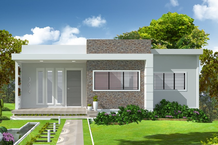 Casas modernas fachadas plantas e projetos for Casa moderna 90m2