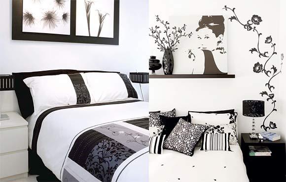 Decoração do Quarto Preto e Branco ~ Quartos Decorados Com Papel De Parede Preto E Branco