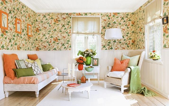 sala decorada com chita
