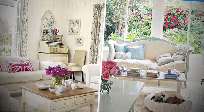 sala decorada com shabby chic