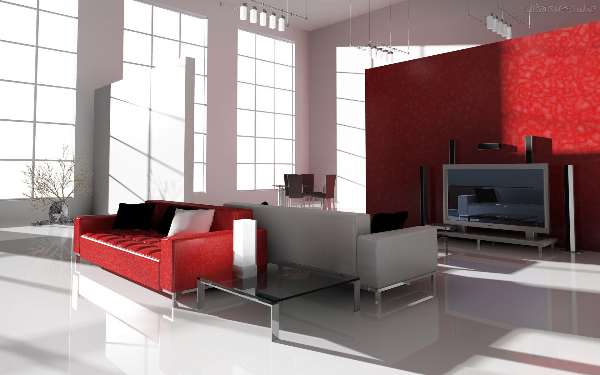 sala estarcom sofá vermelho